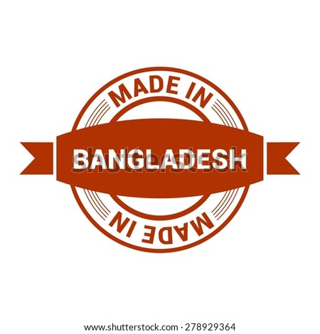 Made in Bangladesh - Round red rubber stamp design isolated on white background. vector illustration vintage texture. - stock vector