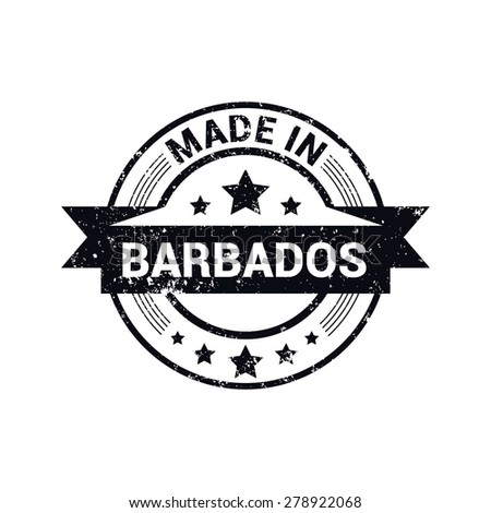 Made in Barbados - Round black grunge rubber stamp design isolated on white background. vector illustration vintage texture. - stock vector