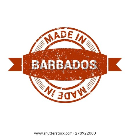 Made in Barbados - Round red grunge rubber stamp design isolated on white background. vector illustration vintage texture. - stock vector