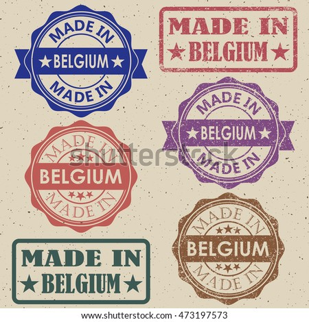 made in Belgium blue round vintage stamp.Belgium stamp.Belgium seal