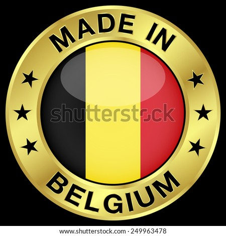 Made in Belgium gold badge and icon with central glossy Belgian flag symbol and stars. Vector EPS 10 illustration isolated on black background. - stock vector