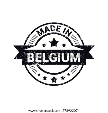 Made in Belgium - Round black grunge rubber stamp design isolated on white background. vector illustration vintage texture. - stock vector