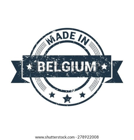 Made in Belgium - Round blue grunge rubber stamp design isolated on white background. vector illustration vintage texture. - stock vector