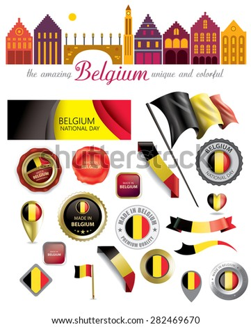 Made in Belgium Seal Collection, Belgian Flag, National Day (Vector Art) - stock vector