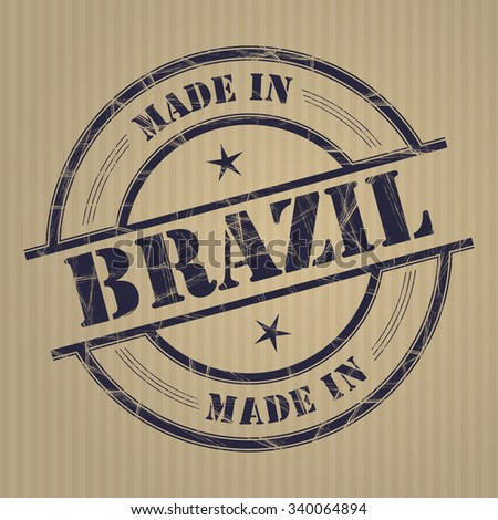Made in Brazil grunge rubber stamp - stock vector