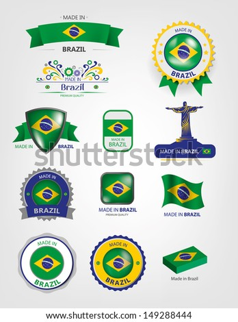 Made in Brazil, Seals, Flags Collection (Vector) - stock vector