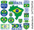 Made in brazil VECTOR FLAG MAP tag set label - stock