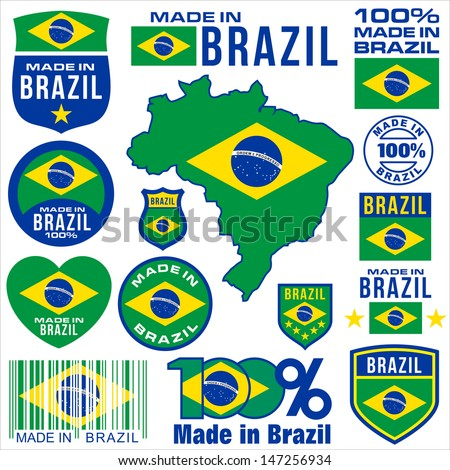 Made in brazil VECTOR FLAG MAP tag set label - stock vector