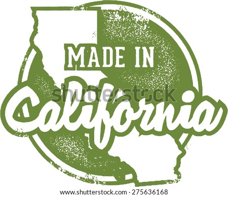 Made in California USA Stamp - stock vector
