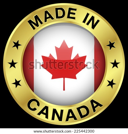 Made in Canada gold badge and icon with central glossy Canadian flag symbol and stars. Vector EPS 10 illustration isolated on black background. - stock vector