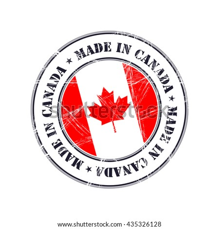 Made in Canada grunge rubber stamp with flag - stock vector