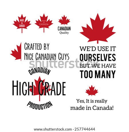 Made in canada humorous typographic labels isolated on white. Set of vector badges. - stock vector