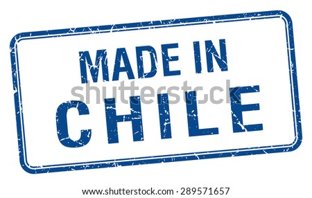 made in Chile blue square isolated stamp