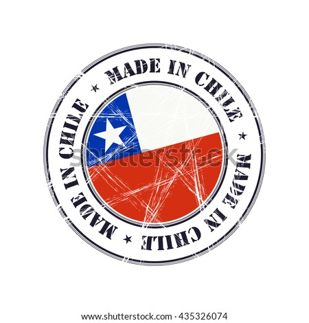 Made in Chile grunge rubber stamp with flag - stock vector