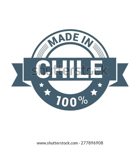 Made in Chile - Round blue rubber stamp design isolated on white background. vector illustration vintage texture. - stock vector