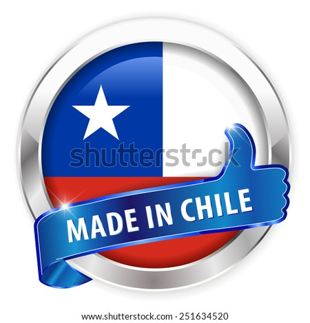made in chile silver badge isolated button on white background - vector eps10