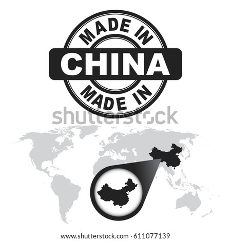 Made china stamp world map zoom vectores en stock 611077139 made in china stamp world map with zoom on country vector emblem in flat gumiabroncs Choice Image