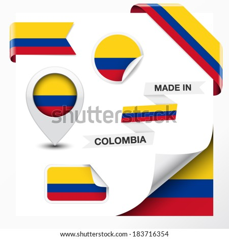 Made in Colombia collection of ribbon, label, stickers, pointer, icon and page curl with Colombian flag symbol on design element. Vector EPS 10 illustration isolated on white background. - stock vector