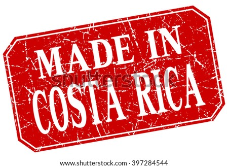 made in Costa Rica red square grunge stamp