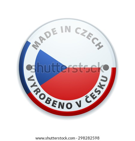 Made in Czech (non-English text - Made in Czech) - stock vector