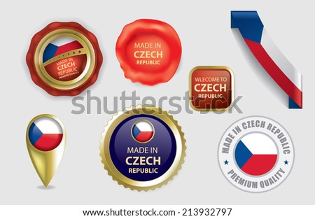 Made in Czech Republic Seals, Czech Flag (Vector Art)