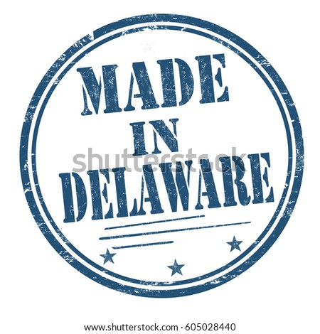 Made in Delaware sign or stamp, vector illustration