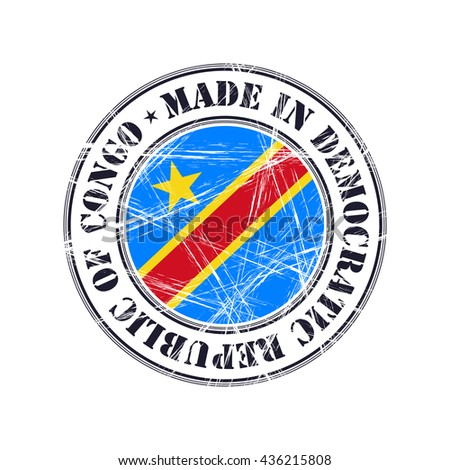 Made in Democratic Republic  of Congo grunge rubber stamp with flag - stock vector