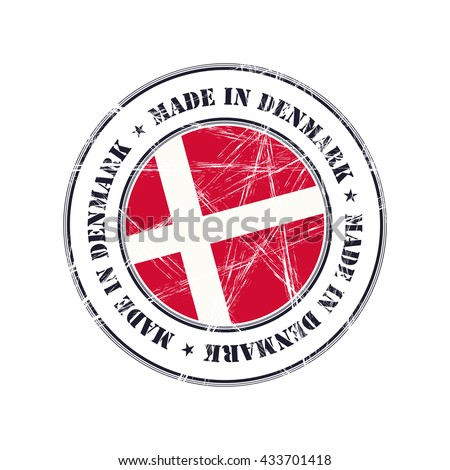 Made in Denmark grunge rubber stamp with flag