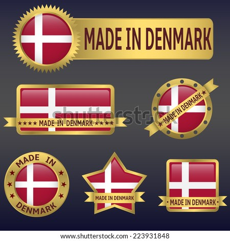 made in Denmark labels and stickers. Vector illustration. - stock vector