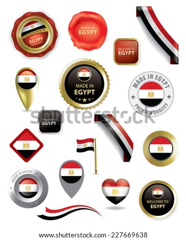 Made in Egypt Seal Collection, Egyptian Flag, Location, Travel (vector Art) - stock vector