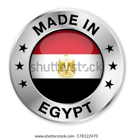 Made in Egypt silver badge and icon with central glossy Egyptian flag symbol and stars. Vector EPS 10 illustration isolated on white background. - stock vector