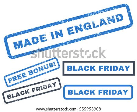 Made In England rubber seal stamp watermark with additional images for Black Friday offers. Vector smooth blue stickers. Tag inside rectangular banner with grunge design and dust texture.