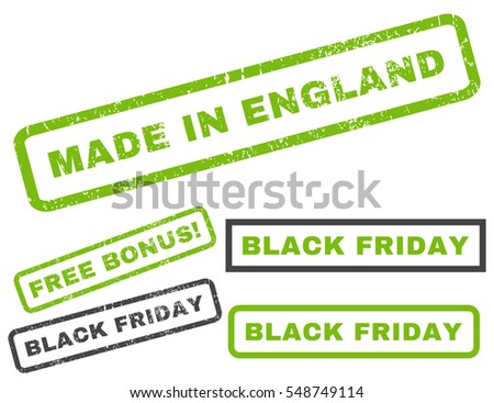 Made In England rubber seal stamp watermark with bonus banners for Black Friday offers. Vector light green and gray signs. Caption inside rectangular shape with grunge design and dirty texture.