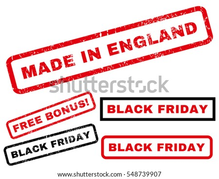 Made In England rubber seal stamp watermark with bonus images for Black Friday sales. Vector red and black emblems. Text inside rectangular shape with grunge design and unclean texture.