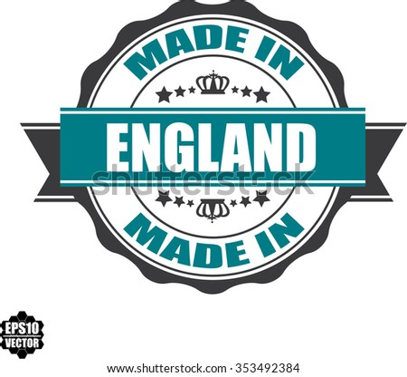 Made In England Rubber Stamp with Star And Ribbon. (Sticker, Tag, Icon, Symbol).vector illustration - stock vector