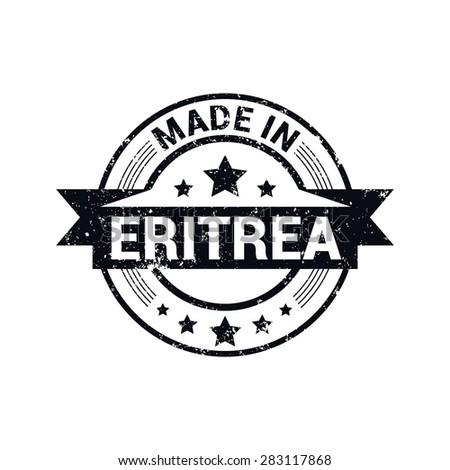 Made in Eritrea - Round black grunge rubber stamp design isolated on white background. vector illustration vintage texture. Vector illustration