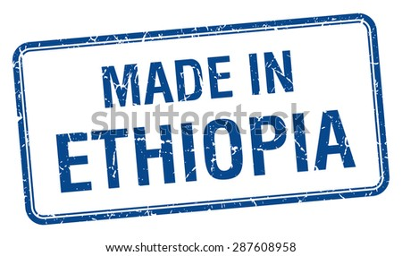made in Ethiopia blue square isolated stamp