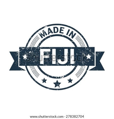 Made in Fiji - Round blue grunge rubber stamp design isolated on white background. vector illustration vintage texture. - stock vector