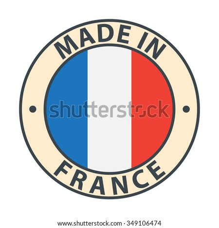 Made in France badge with flag on white background, minimalism style