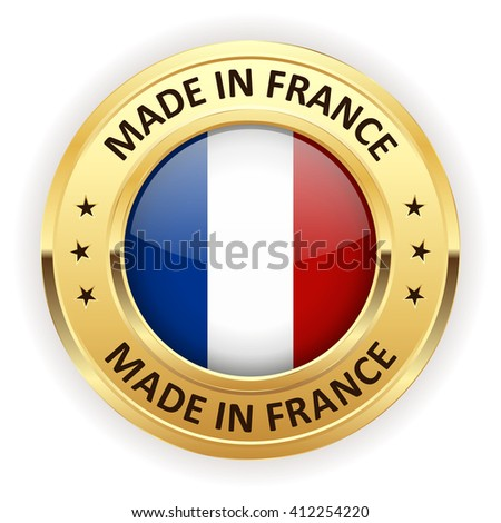 Made in france button with gold border on white background