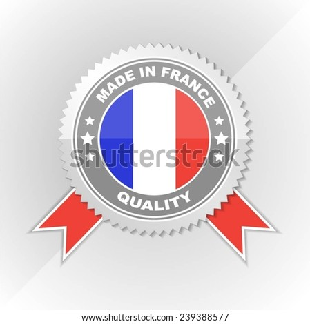 Made in France, Flag, Seal, Ribbon, Vector Art