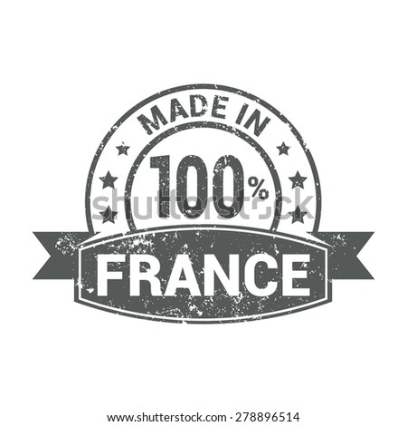 Made in France - Round gray grunge rubber stamp design isolated on white background. vector illustration vintage texture. - stock vector