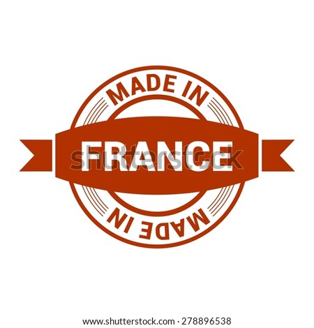 Made in France - Round red rubber stamp design isolated on white background. vector illustration vintage texture. - stock vector