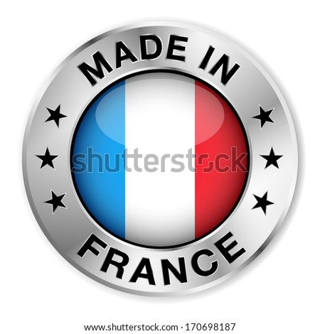 Made in France silver badge and icon with central glossy French flag symbol and stars. Vector EPS10 illustration isolated on white background.