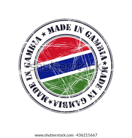 Made in Gambia grunge rubber stamp with flag