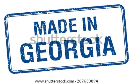 made in Georgia blue square isolated stamp