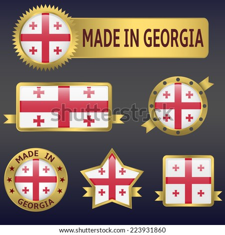 made in Georgia labels and stickers. Vector illustration. - stock vector