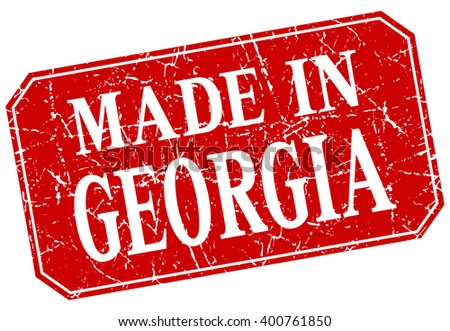 made in Georgia red square grunge stamp