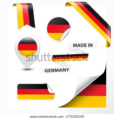 Made in Germany collection of ribbon, label, stickers, pointer, badge, icon and page curl with German flag symbol on design element. Vector EPS10 illustration isolated on white background. - stock vector