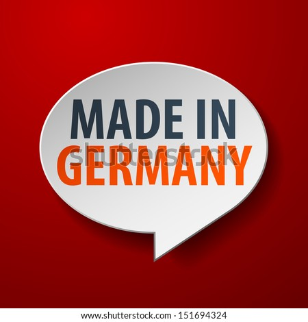 made in germany 3d speech bubble on red background